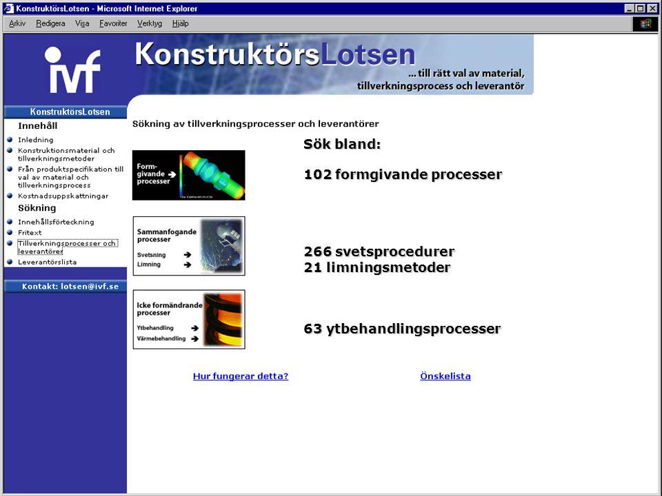 Sök bland: 102 formgivande processer 266 svetsprocedurer 21 limningsmetoder 63 ytbehandlingsprocesser