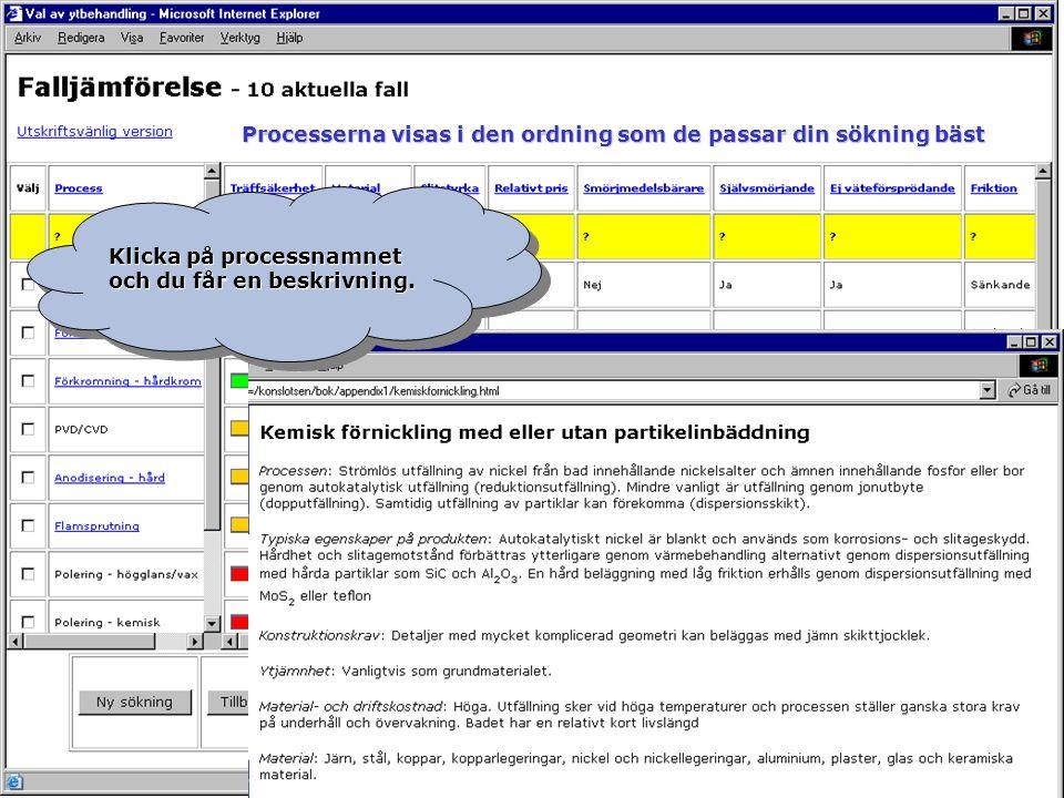 Klicka på processnamnet och du får en beskrivning. Processerna visas i den ordning som de passar din sökning bäst