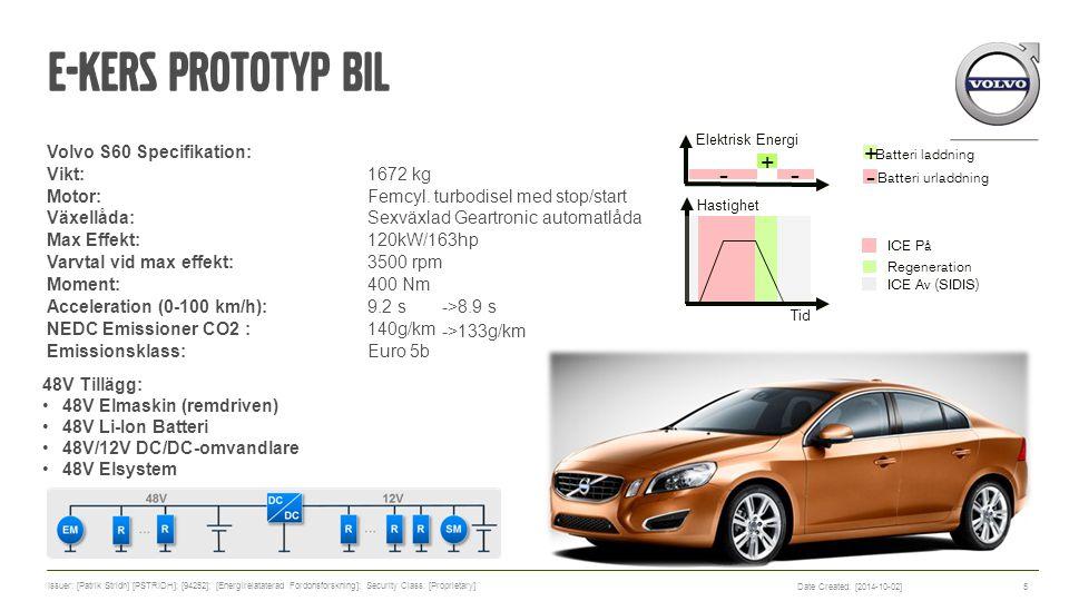 E-KERS Prototyp Bil Volvo S60 Specifikation: Vikt:1672 kg (<5 kg) Motor: Femcyl. turbodisel med stop/start Växellåda: Sexväxlad Geartronic automatlåda