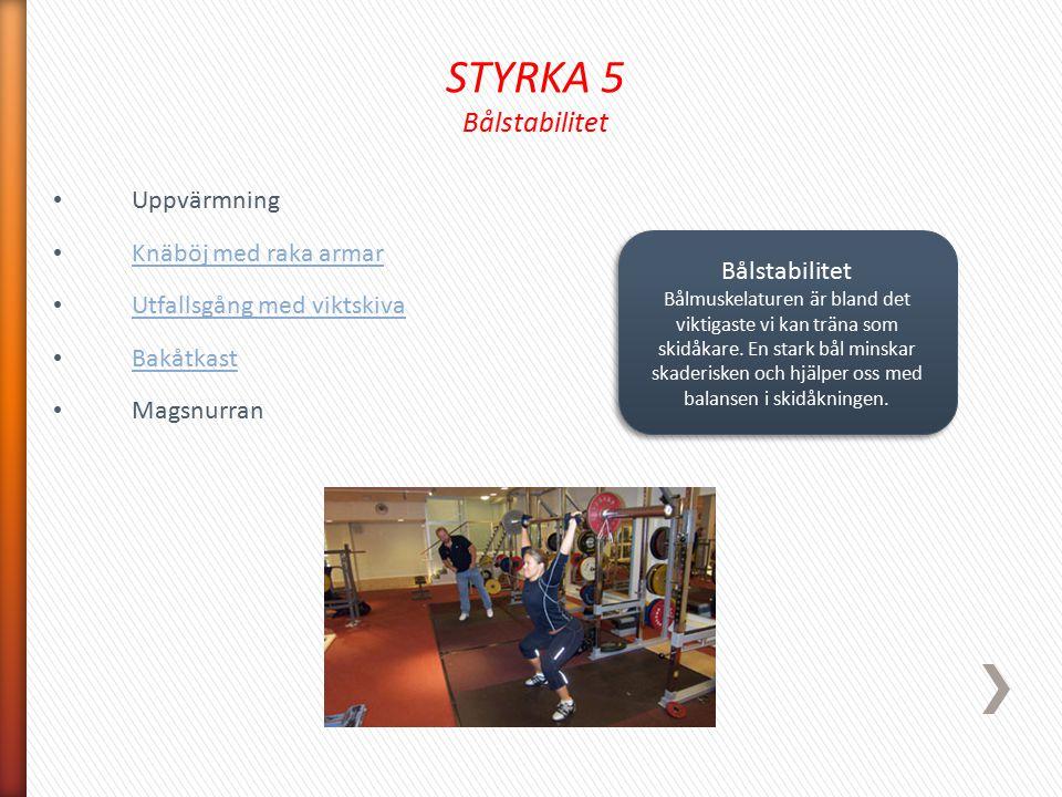 STYRKA 5 Bålstabilitet Uppvärmning Knäböj med raka armar Utfallsgång med viktskiva Bakåtkast Magsnurran Bålstabilitet Bålmuskelaturen är bland det vik