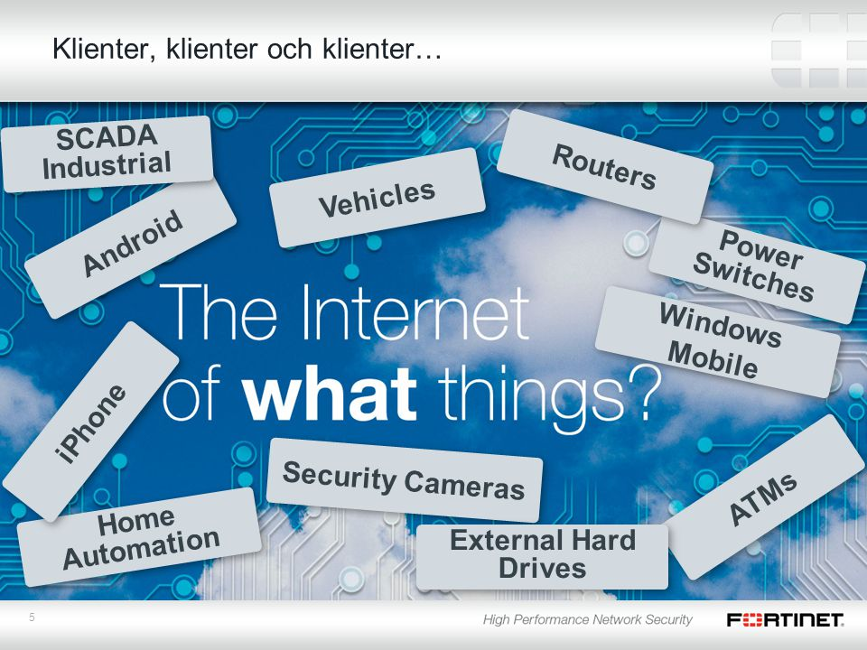 5 Klienter, klienter och klienter… Power Switches ATMs Security Cameras Android Home Automation Vehicles iPhone External Hard Drives Windows Mobile Routers SCADA Industrial