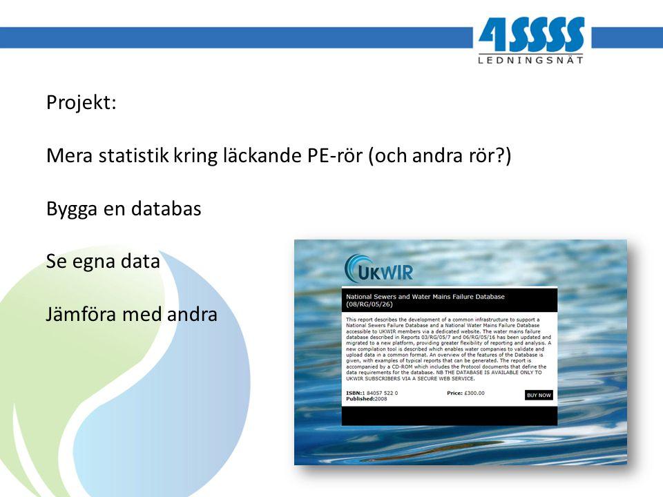 Projekt: Mera statistik kring läckande PE-rör (och andra rör?) Bygga en databas Se egna data Jämföra med andra