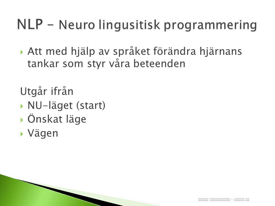  Att med hjälp av språket förändra hjärnans tankar som styr våra beteenden Utgår ifrån  NU-läget (start)  Önskat läge  Vägen Jonas Augustsson - induv.
