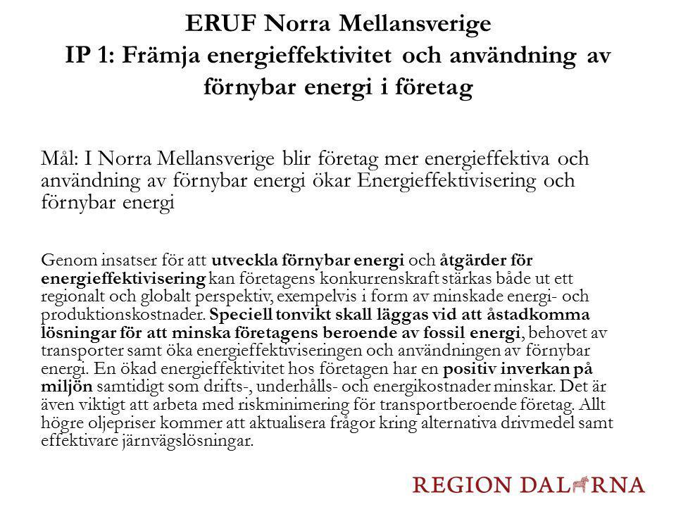 ERUF Norra Mellansverige IP 1: Främja energieffektivitet och användning av förnybar energi i företag Mål: I Norra Mellansverige blir företag mer energ