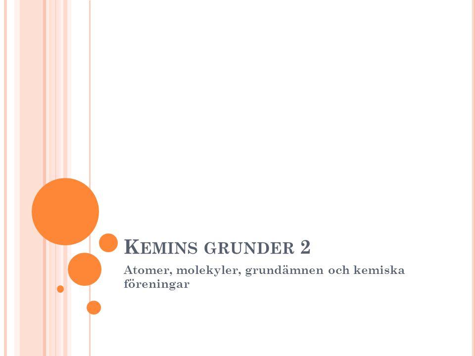 K EMINS GRUNDER 2 Atomer, molekyler, grundämnen och kemiska föreningar