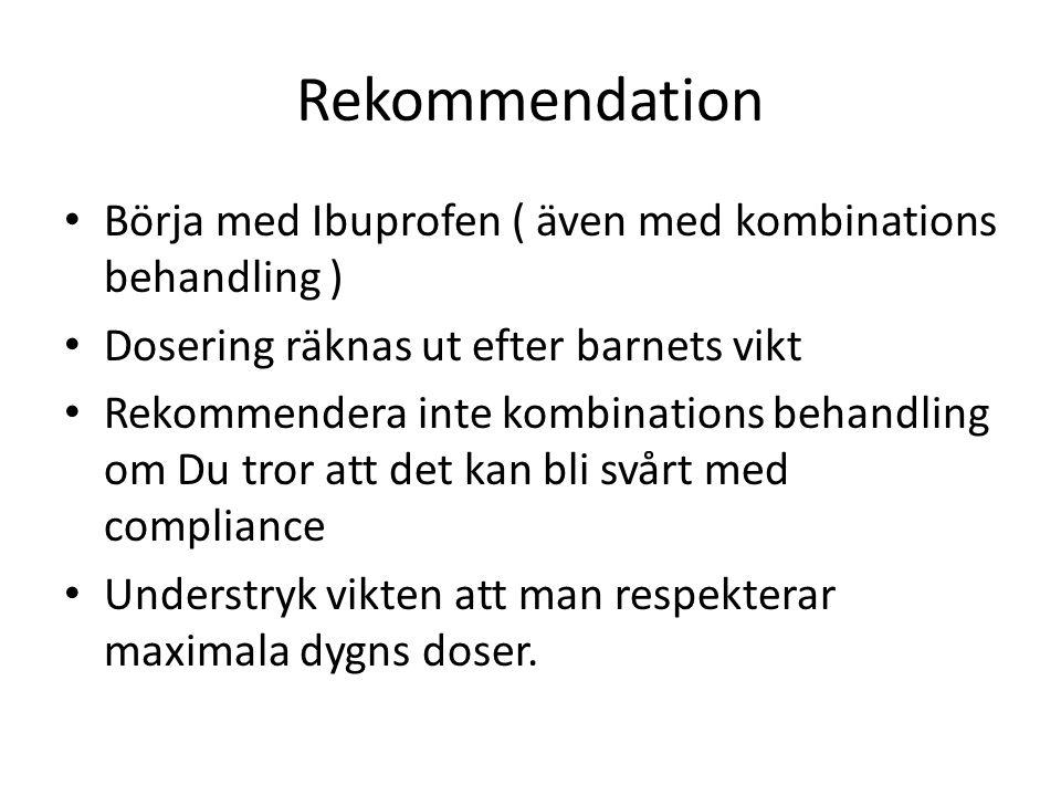Rekommendation Börja med Ibuprofen ( även med kombinations behandling ) Dosering räknas ut efter barnets vikt Rekommendera inte kombinations behandlin
