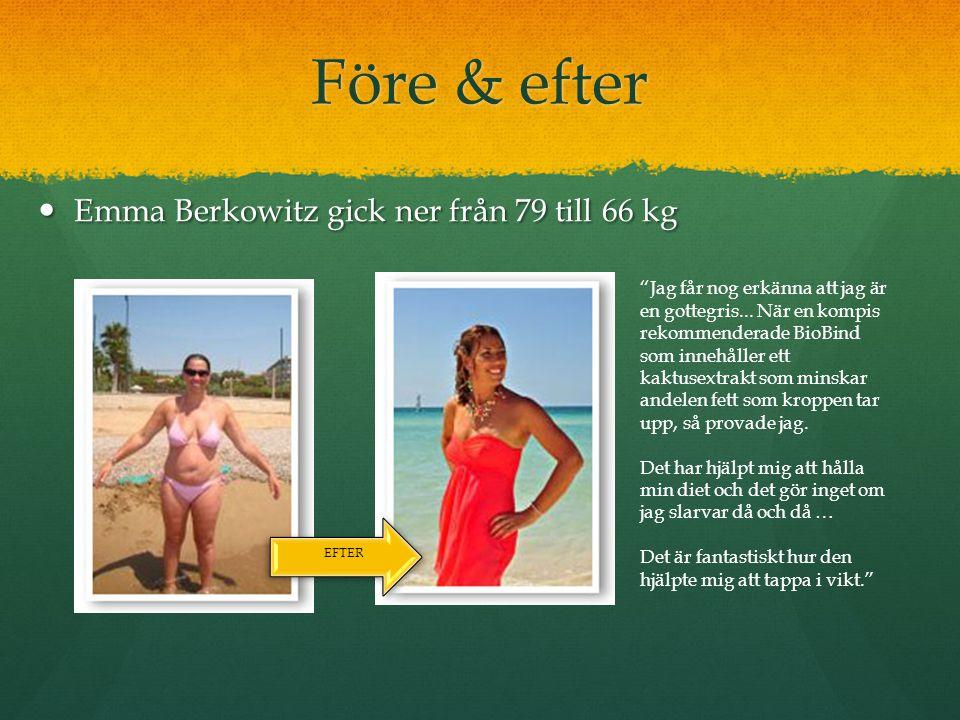 Före & efter Emma Berkowitz gick ner från 79 till 66 kg Emma Berkowitz gick ner från 79 till 66 kg EFTER Jag får nog erkänna att jag är en gottegris...