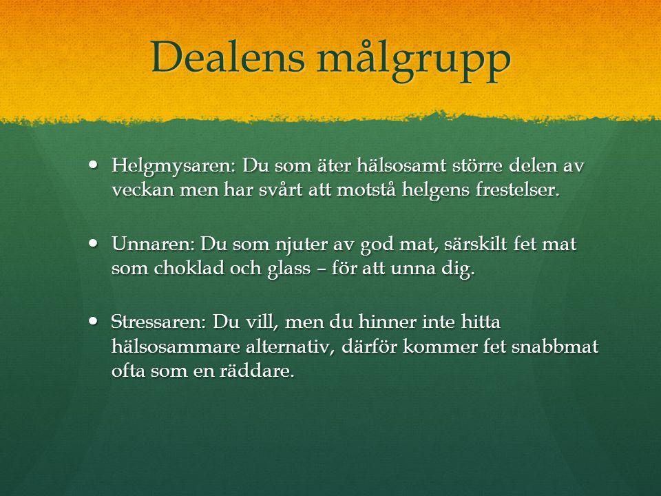 Dealens målgrupp Helgmysaren: Du som äter hälsosamt större delen av veckan men har svårt att motstå helgens frestelser.