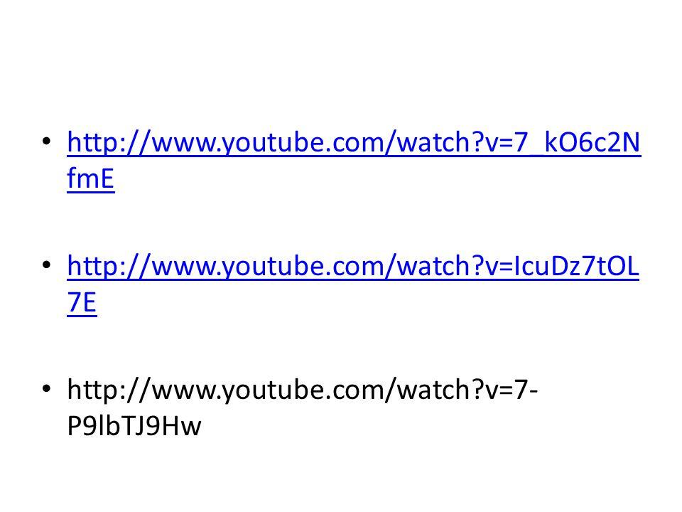http://www.youtube.com/watch?v=7_kO6c2N fmE http://www.youtube.com/watch?v=7_kO6c2N fmE http://www.youtube.com/watch?v=IcuDz7tOL 7E http://www.youtube
