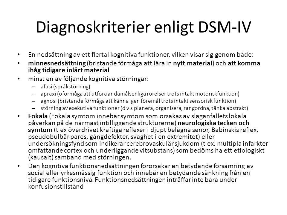 Diagnoskriterier enligt DSM-IV En nedsättning av ett flertal kognitiva funktioner, vilken visar sig genom både: minnesnedsättning (bristande förmåga a