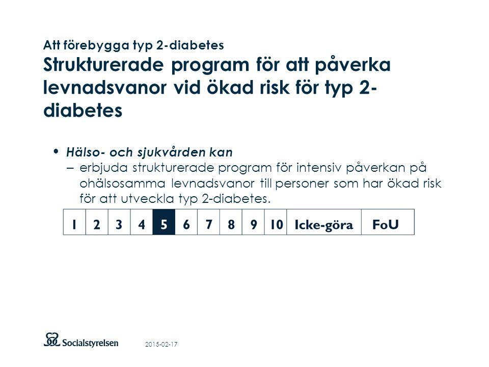 Att visa fotnot, datum, sidnummer Klicka på fliken Infoga och klicka på ikonen sidhuvud/sidfot Klistra in text: Klistra in texten, klicka på ikonen (Ctrl), välj Behåll endast text Att förebygga typ 2-diabetes Strukturerade program för att påverka levnadsvanor vid ökad risk för typ 2- diabetes Hälso- och sjukvården kan – erbjuda strukturerade program för intensiv påverkan på ohälsosamma levnadsvanor till personer som har ökad risk för att utveckla typ 2-diabetes.