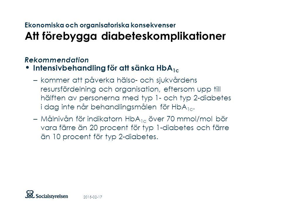 Att visa fotnot, datum, sidnummer Klicka på fliken Infoga och klicka på ikonen sidhuvud/sidfot Klistra in text: Klistra in texten, klicka på ikonen (Ctrl), välj Behåll endast text Ekonomiska och organisatoriska konsekvenser Att förebygga diabeteskomplikationer Rekommendation Intensivbehandling för att sänka HbA 1c – kommer att påverka hälso- och sjukvårdens resursfördelning och organisation, eftersom upp till hälften av personerna med typ 1- och typ 2-diabetes i dag inte når behandlingsmålen för HbA 1c.