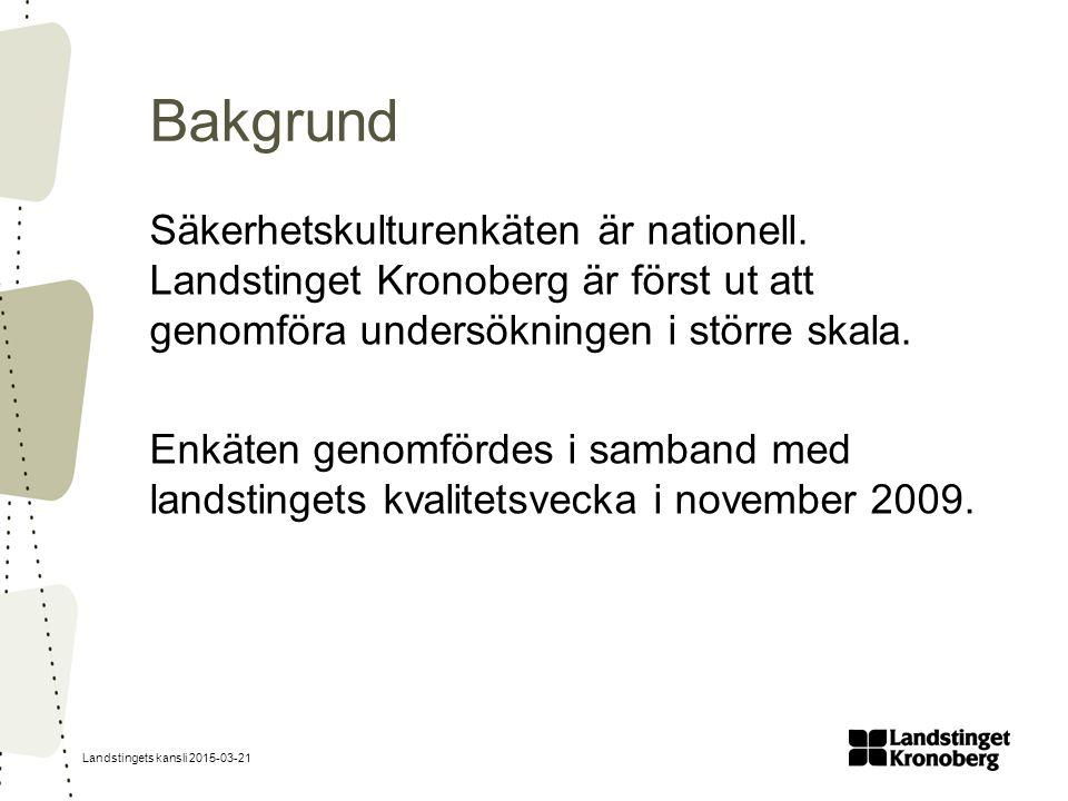 Landstingets kansli 2015-03-21 Bakgrund Säkerhetskulturenkäten är nationell.