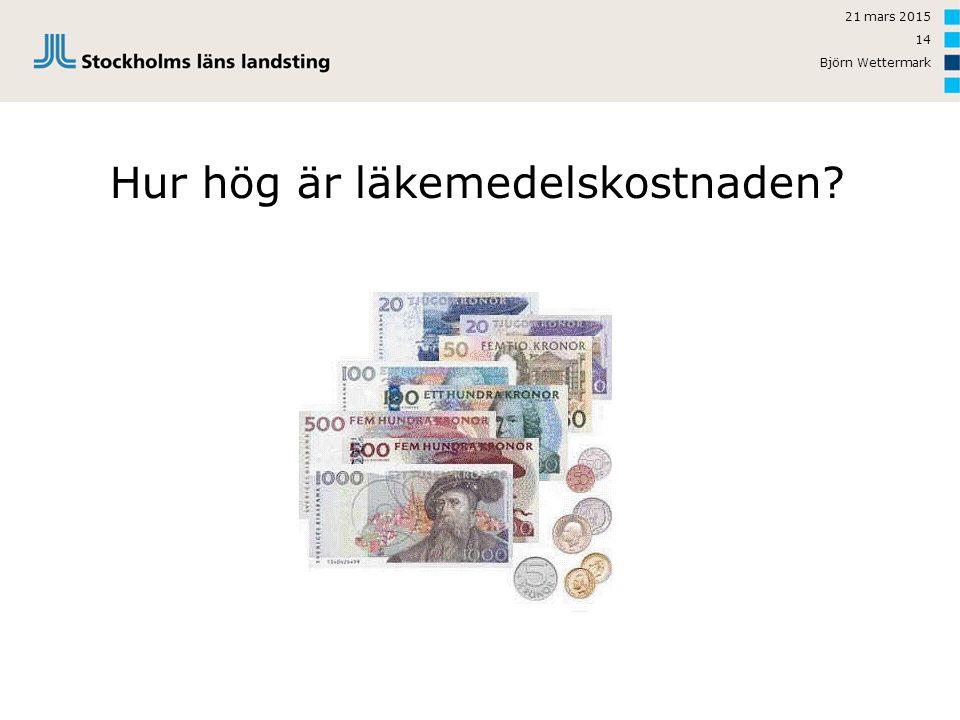 21 mars 2015 Björn Wettermark 14 Hur hög är läkemedelskostnaden?