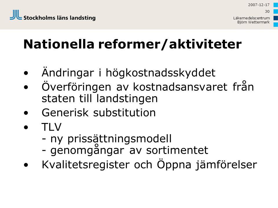 2007-12-17 Läkemedelscentrum Björn Wettermark 30 Nationella reformer/aktiviteter Ändringar i högkostnadsskyddet Överföringen av kostnadsansvaret från