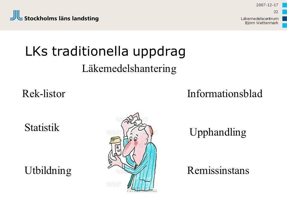 2007-12-17 Läkemedelscentrum Björn Wettermark 32 LKs traditionella uppdrag Rek-listor Statistik Informationsblad Läkemedelshantering Upphandling Utbil