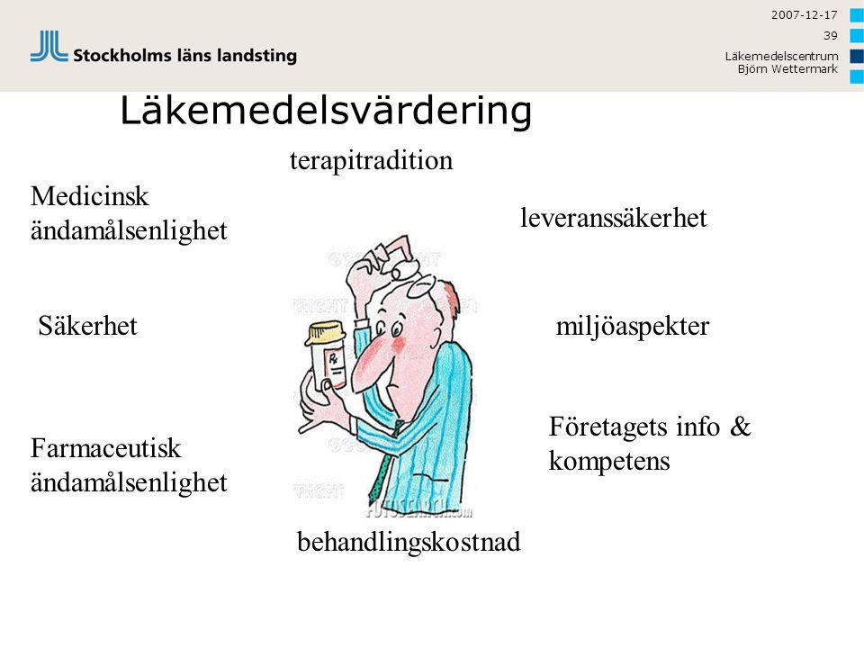 2007-12-17 Läkemedelscentrum Björn Wettermark 39 Läkemedelsvärdering Medicinsk ändamålsenlighet Farmaceutisk ändamålsenlighet Säkerhet behandlingskost