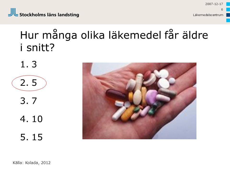 2007-12-17 Läkemedelscentrum 6 Hur många olika läkemedel får äldre i snitt? 1.3 2.5 3.7 4.10 5.15 Källa: Kolada, 2012
