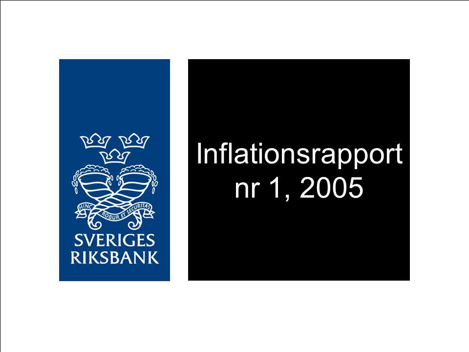 Reporänteantaganden: Implicit terminsräntekurva (15 dagars genomsnitt per den 23 februari 2005) samt konstant reporänta Procent UND1X-inflation, utfall och prognos under antagande om reporänteutveckling i linje med implicita terminsräntor samt konstant reporänta Årlig procentuell förändring Källor: SCB och Riksbanken