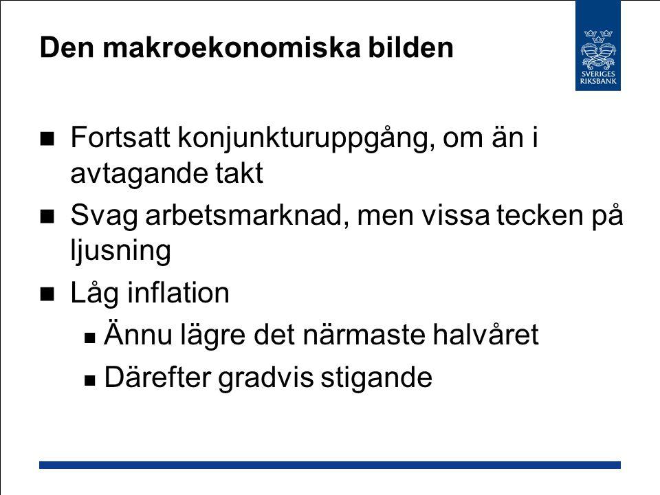 Ökad konkurrens ger låg inflation Globala producentpriser stiger måttligt Fallande priser på svensk import Sänkta livsmedelspriser … men högt oljepris