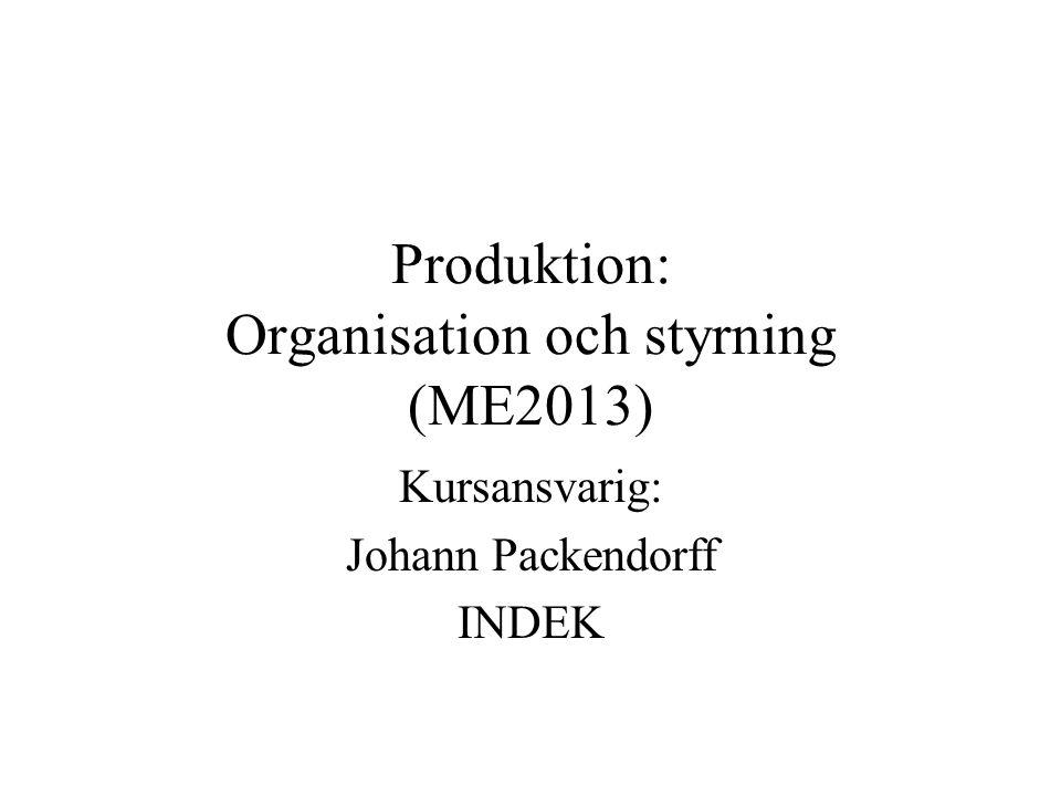 Produktion: Organisation och styrning (ME2013) Kursansvarig: Johann Packendorff INDEK