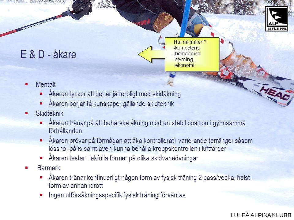 LULEÅ ALPINA KLUBB E & D - åkare  Mentalt  Åkaren tycker att det är jätteroligt med skidåkning  Åkaren börjar få kunskaper gällande skidteknik  Sk