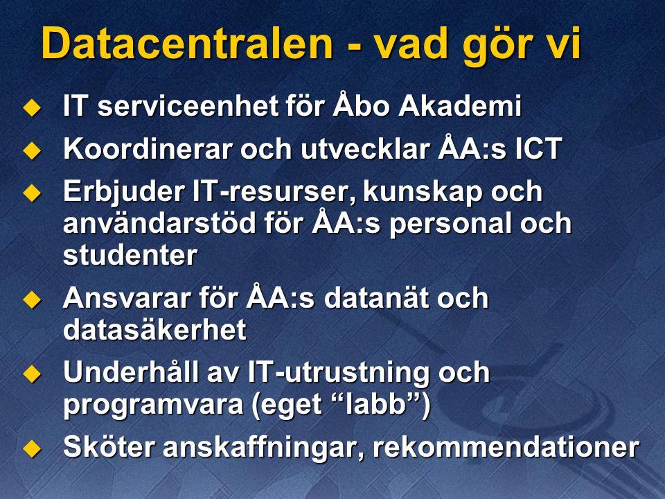 Institutionsområden  Många ämnen har även ämnesgemensamma skivområden för lagring av gemensamt data  Ämnesområdet finns på DC:s (windows)server pcinst men administreras av ämnets IT- kontaktperson  Kontakt på DC: Jussi Laaksonen (jussi@abo.fi)