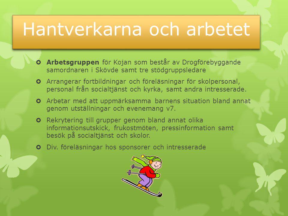 Hantverkarna och arbetet  Arbetsgruppen för Kojan som består av Drogförebyggande samordnaren i Skövde samt tre stödgruppsledare  Arrangerar fortbildningar och föreläsningar för skolpersonal, personal från socialtjänst och kyrka, samt andra intresserade.