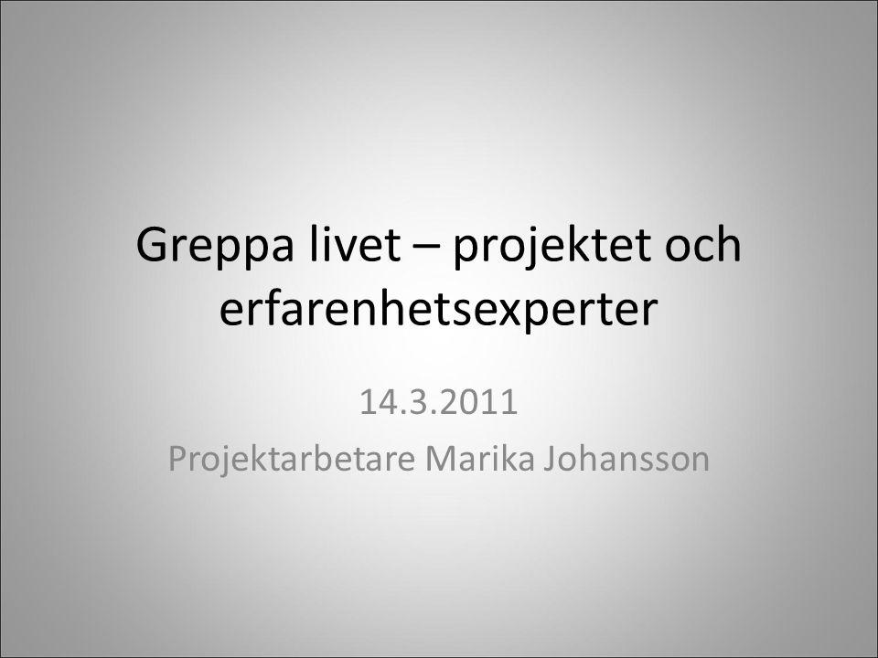 Greppa livet – projektet och erfarenhetsexperter 14.3.2011 Projektarbetare Marika Johansson