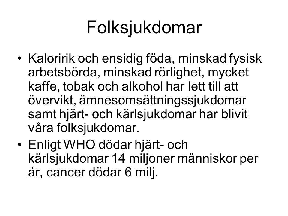 Folksjukdomar I Finland klassas hjärt- och kärlsjukdomar, cancersjukdomar, mentala störningar, sjukdomar i stöd- och rörelseorganen, ämnesomsättningssjukdomar och sjukdomar i andningsorganen som folksjukdomar.