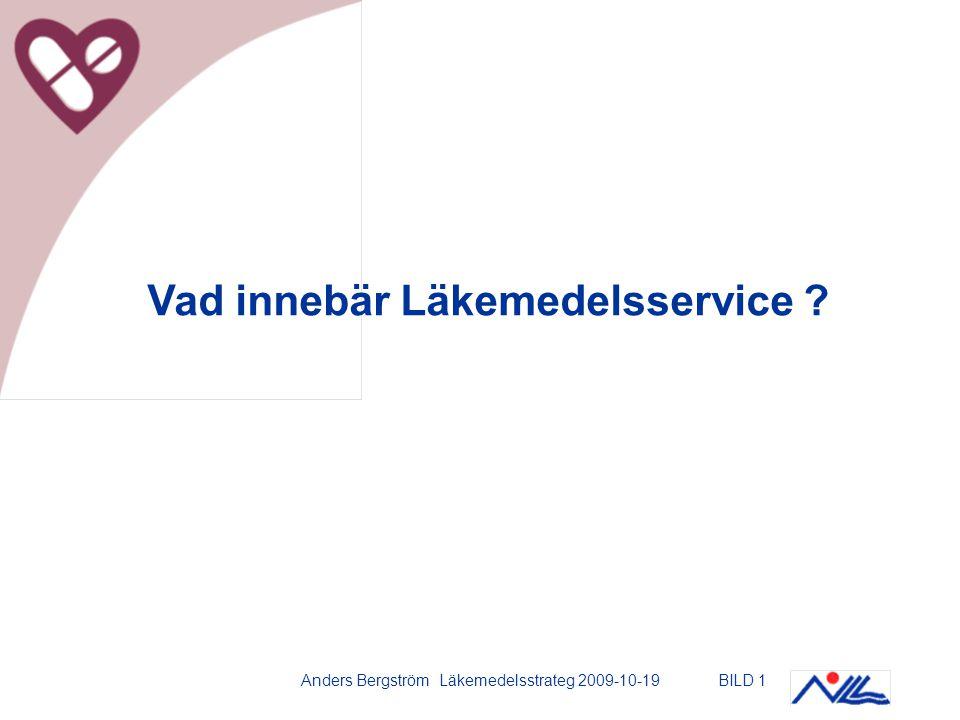 Anders Bergström Läkemedelsstrateg 2009-10-19BILD 2 Läkemedelsservice -sjukhusapoteket sköter huvudparten av logistik och övrigt sortimentsarbete samt ger metodstöd / information till sjuksköterska Direkt logistik Metodstöd, övrigt arbete Sjuksköterska: –patientnära läkemedelshant.