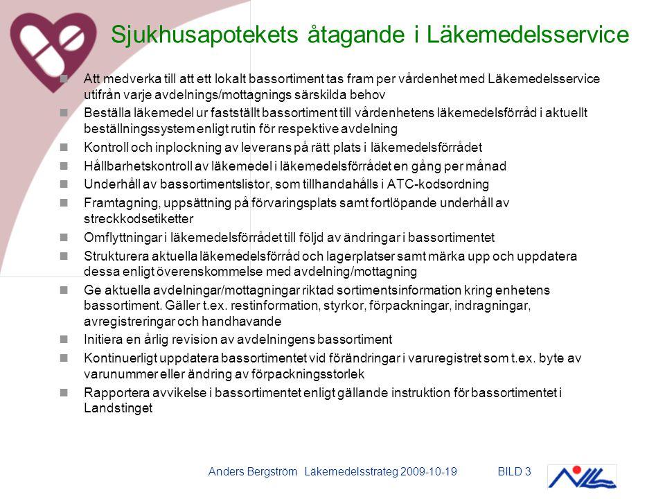 Anders Bergström Läkemedelsstrateg 2009-10-19BILD 3 Att medverka till att ett lokalt bassortiment tas fram per vårdenhet med Läkemedelsservice utifrån varje avdelnings/mottagnings särskilda behov Beställa läkemedel ur fastställt bassortiment till vårdenhetens läkemedelsförråd i aktuellt beställningssystem enligt rutin för respektive avdelning Kontroll och inplockning av leverans på rätt plats i läkemedelsförrådet Hållbarhetskontroll av läkemedel i läkemedelsförrådet en gång per månad Underhåll av bassortimentslistor, som tillhandahålls i ATC-kodsordning Framtagning, uppsättning på förvaringsplats samt fortlöpande underhåll av streckkodsetiketter Omflyttningar i läkemedelsförrådet till följd av ändringar i bassortimentet Strukturera aktuella läkemedelsförråd och lagerplatser samt märka upp och uppdatera dessa enligt överenskommelse med avdelning/mottagning Ge aktuella avdelningar/mottagningar riktad sortimentsinformation kring enhetens bassortiment.