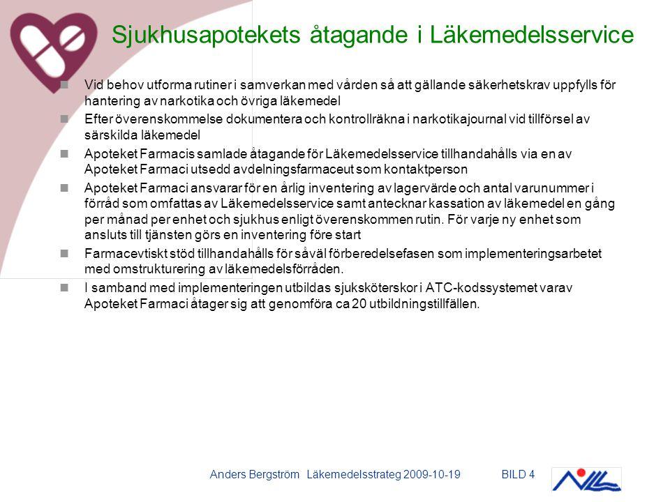 Anders Bergström Läkemedelsstrateg 2009-10-19BILD 4 Vid behov utforma rutiner i samverkan med vården så att gällande säkerhetskrav uppfylls för hantering av narkotika och övriga läkemedel Efter överenskommelse dokumentera och kontrollräkna i narkotikajournal vid tillförsel av särskilda läkemedel Apoteket Farmacis samlade åtagande för Läkemedelsservice tillhandahålls via en av Apoteket Farmaci utsedd avdelningsfarmaceut som kontaktperson Apoteket Farmaci ansvarar för en årlig inventering av lagervärde och antal varunummer i förråd som omfattas av Läkemedelsservice samt antecknar kassation av läkemedel en gång per månad per enhet och sjukhus enligt överenskommen rutin.