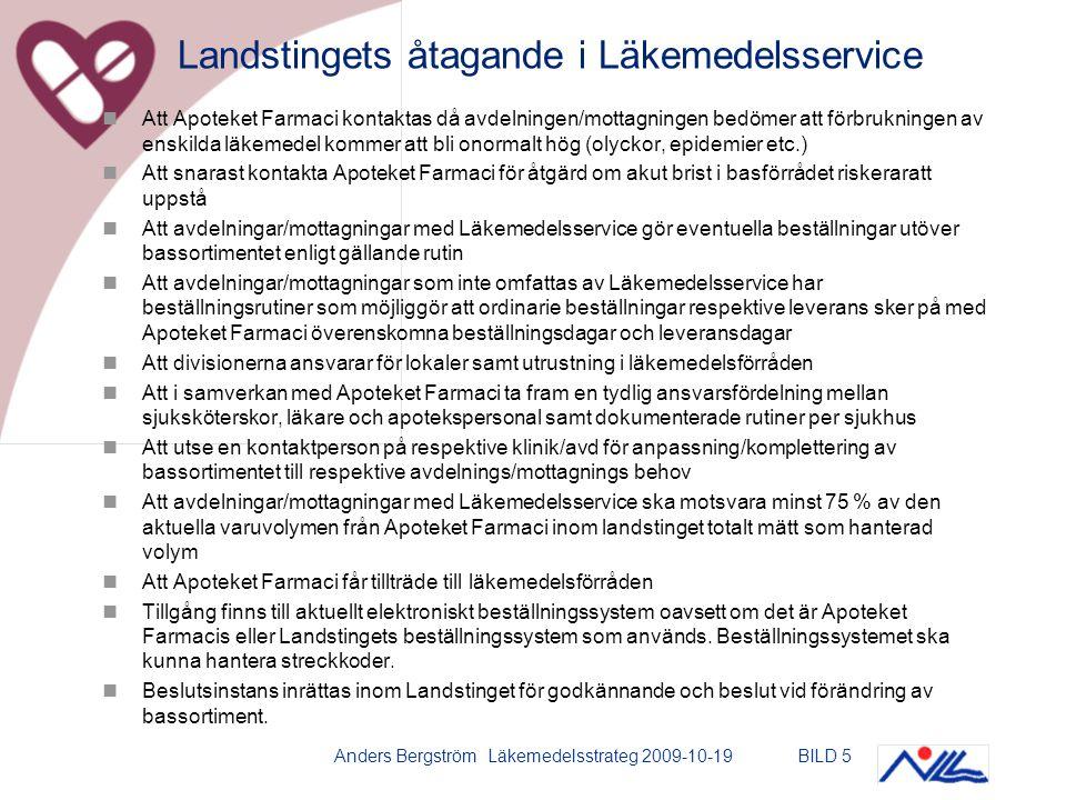Anders Bergström Läkemedelsstrateg 2009-10-19BILD 5 Att Apoteket Farmaci kontaktas då avdelningen/mottagningen bedömer att förbrukningen av enskilda läkemedel kommer att bli onormalt hög (olyckor, epidemier etc.) Att snarast kontakta Apoteket Farmaci för åtgärd om akut brist i basförrådet riskeraratt uppstå Att avdelningar/mottagningar med Läkemedelsservice gör eventuella beställningar utöver bassortimentet enligt gällande rutin Att avdelningar/mottagningar som inte omfattas av Läkemedelsservice har beställningsrutiner som möjliggör att ordinarie beställningar respektive leverans sker på med Apoteket Farmaci överenskomna beställningsdagar och leveransdagar Att divisionerna ansvarar för lokaler samt utrustning i läkemedelsförråden Att i samverkan med Apoteket Farmaci ta fram en tydlig ansvarsfördelning mellan sjuksköterskor, läkare och apotekspersonal samt dokumenterade rutiner per sjukhus Att utse en kontaktperson på respektive klinik/avd för anpassning/komplettering av bassortimentet till respektive avdelnings/mottagnings behov Att avdelningar/mottagningar med Läkemedelsservice ska motsvara minst 75 % av den aktuella varuvolymen från Apoteket Farmaci inom landstinget totalt mätt som hanterad volym Att Apoteket Farmaci får tillträde till läkemedelsförråden Tillgång finns till aktuellt elektroniskt beställningssystem oavsett om det är Apoteket Farmacis eller Landstingets beställningssystem som används.