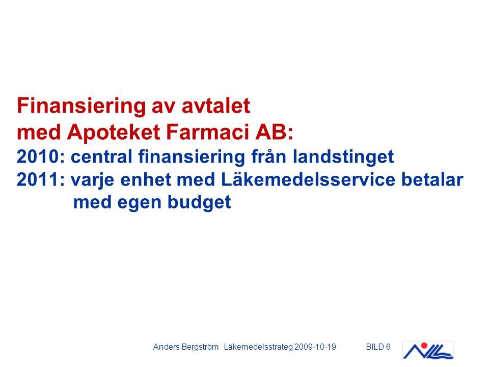 Anders Bergström Läkemedelsstrateg 2009-10-19BILD 6 Finansiering av avtalet med Apoteket Farmaci AB: 2010: central finansiering från landstinget 2011: varje enhet med Läkemedelsservice betalar med egen budget
