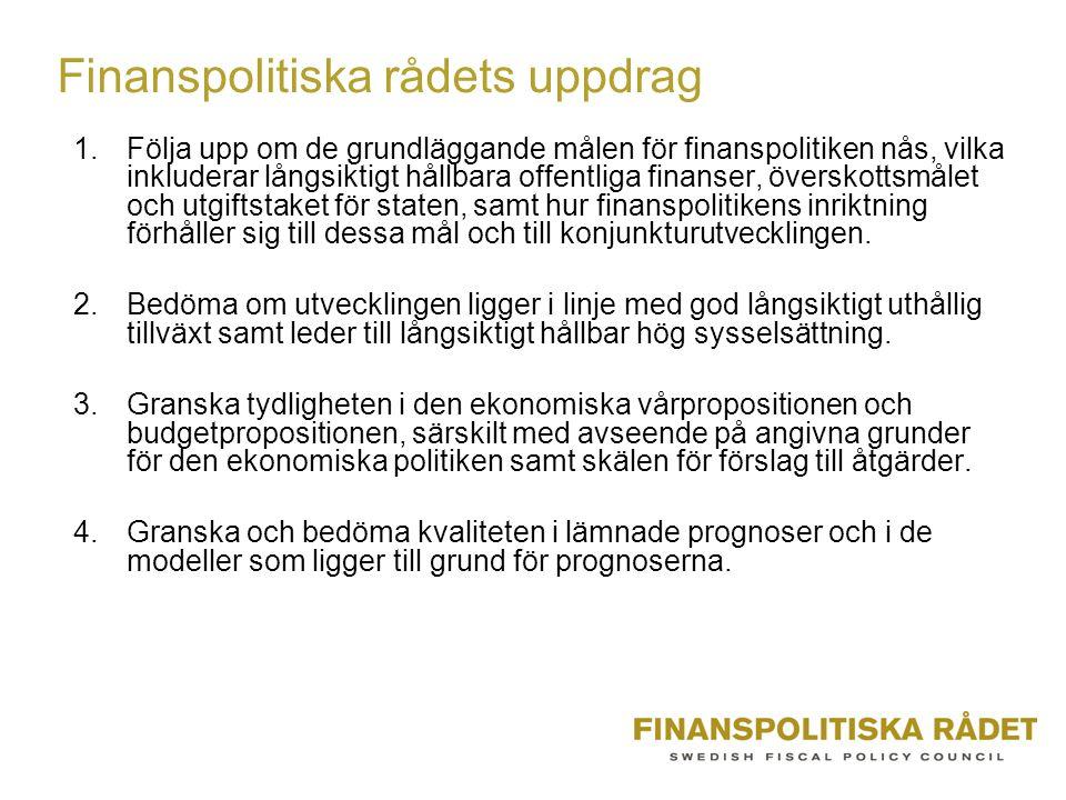 Finanspolitiska rådets uppdrag 1.Följa upp om de grundläggande målen för finanspolitiken nås, vilka inkluderar långsiktigt hållbara offentliga finanser, överskottsmålet och utgiftstaket för staten, samt hur finanspolitikens inriktning förhåller sig till dessa mål och till konjunkturutvecklingen.
