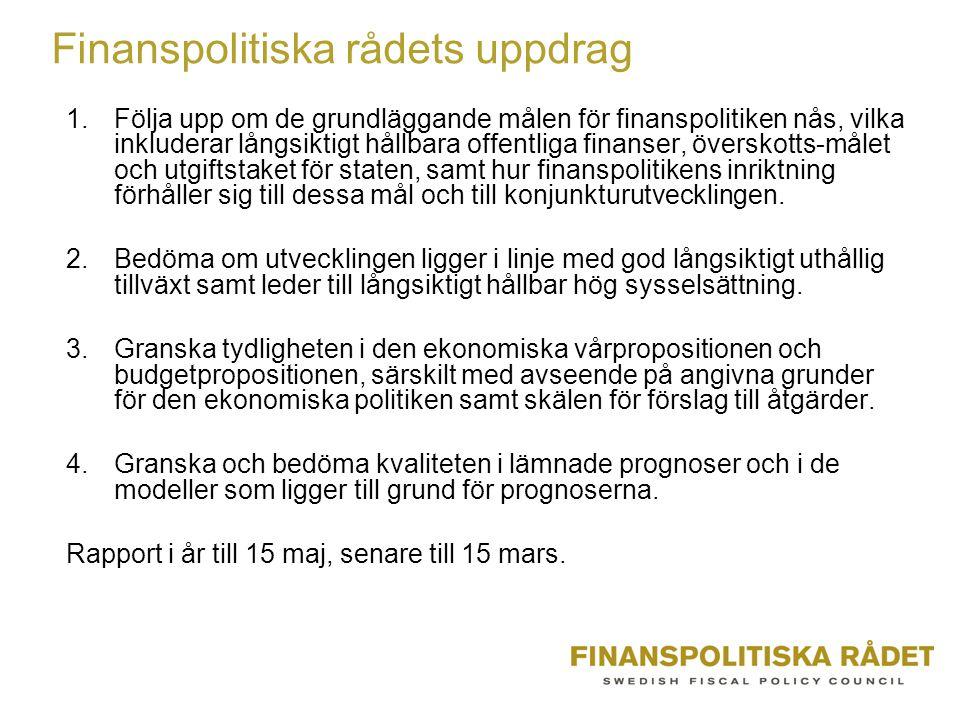 Finanspolitiska rådets uppdrag 1.Följa upp om de grundläggande målen för finanspolitiken nås, vilka inkluderar långsiktigt hållbara offentliga finanser, överskotts-målet och utgiftstaket för staten, samt hur finanspolitikens inriktning förhåller sig till dessa mål och till konjunkturutvecklingen.