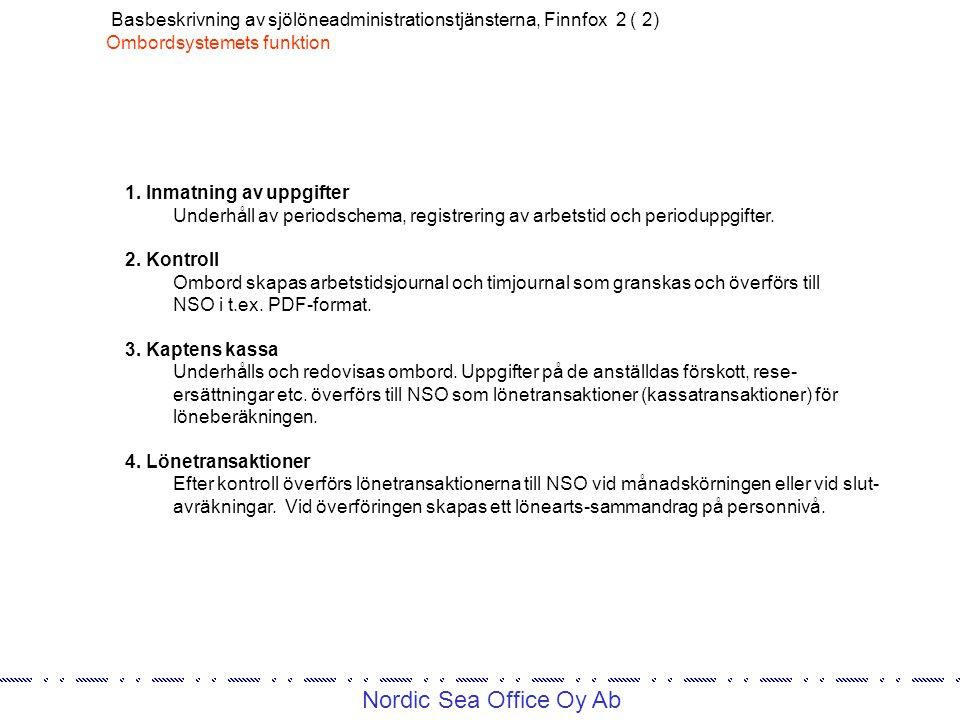 Nordic Sea Office Oy Ab Basbeskrivning av sjölöneadministrationstjänsterna, Finnfox 2 ( 2) Ombordsystemets funktion 1.