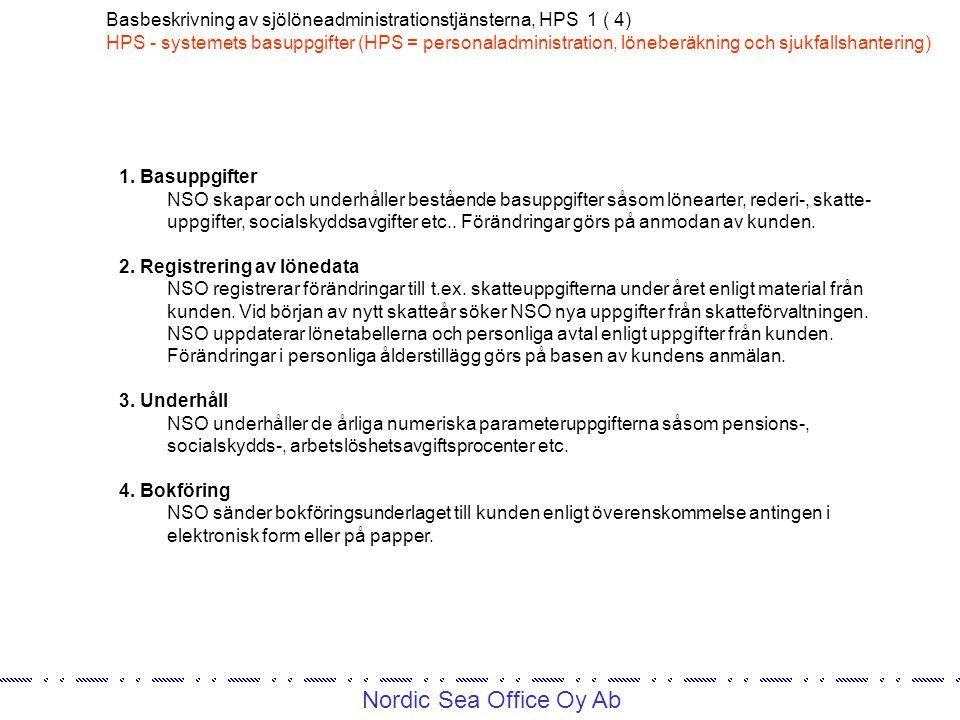 Nordic Sea Office Oy Ab Basbeskrivning av sjölöneadministrationstjänsterna, HPS 1 ( 4) HPS - systemets basuppgifter (HPS = personaladministration, löneberäkning och sjukfallshantering) 1.