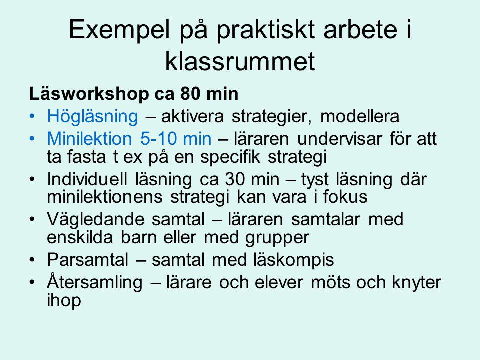 Exempel på praktiskt arbete i klassrummet Läsworkshop ca 80 min Högläsning – aktivera strategier, modellera Minilektion 5-10 min – läraren undervisar