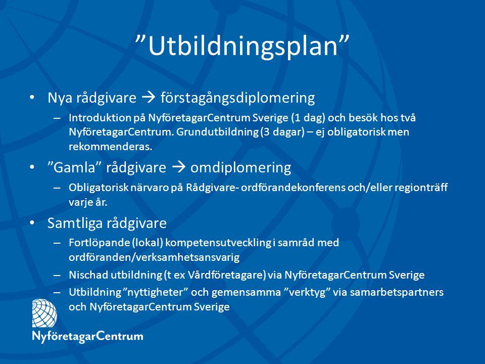 Utbildningsplan Nya rådgivare  förstagångsdiplomering – Introduktion på NyföretagarCentrum Sverige (1 dag) och besök hos två NyföretagarCentrum.