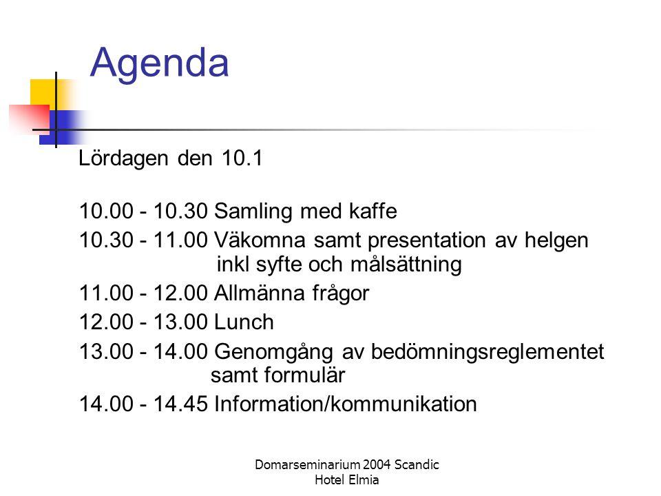 Domarseminarium 2004 Scandic Hotel Elmia Agenda Lördagen den 10.1 10.00 - 10.30 Samling med kaffe 10.30 - 11.00 Väkomna samt presentation av helgen in