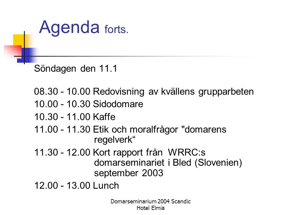 Domarseminarium 2004 Scandic Hotel Elmia Agenda forts. Söndagen den 11.1 08.30 - 10.00 Redovisning av kvällens grupparbeten 10.00 - 10.30 Sidodomare 1