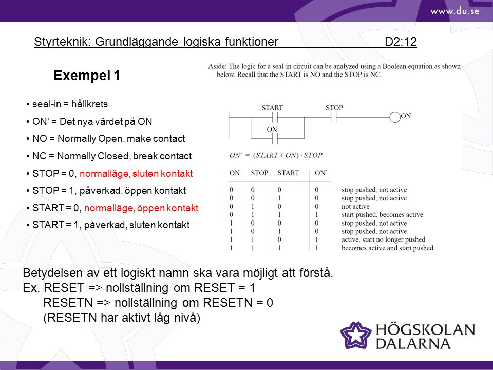 Styrteknik: Grundläggande logiska funktioner D2:12 Exempel 1 seal-in = hållkrets ON' = Det nya värdet på ON NO = Normally Open, make contact NC = Norm