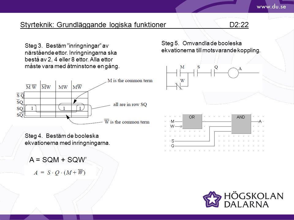 """Styrteknik: Grundläggande logiska funktioner D2:22 Steg 3. Bestäm """"inringningar"""" av närstående ettor. Inringningarna ska bestå av 2, 4 eller 8 ettor."""