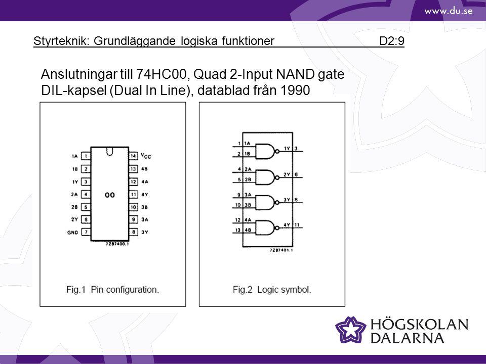 Styrteknik: Grundläggande logiska funktioner D2:20 Från AMS kapitel 7: Karnaughdiagram, K-diagram Med Karnaughdiagram kan man förenkla booleska uttryck.