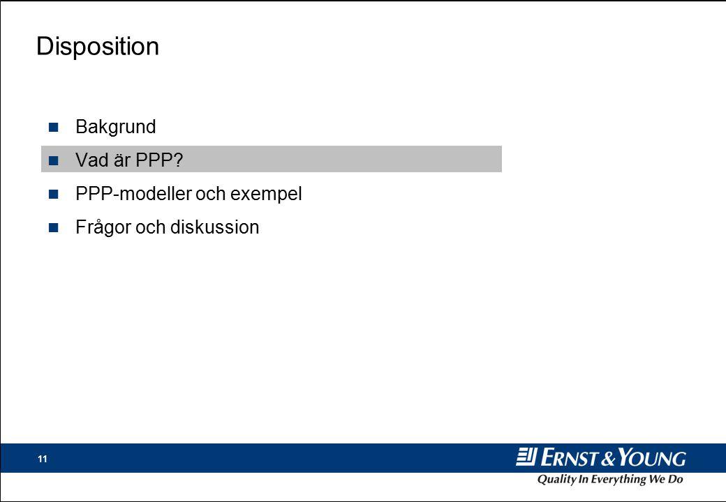 11 Disposition n Bakgrund n Vad är PPP? n PPP-modeller och exempel n Frågor och diskussion
