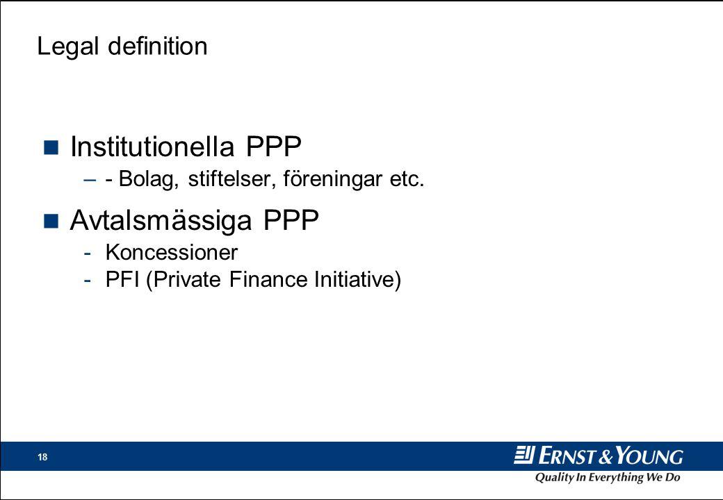 18 Legal definition n Institutionella PPP –- Bolag, stiftelser, föreningar etc.