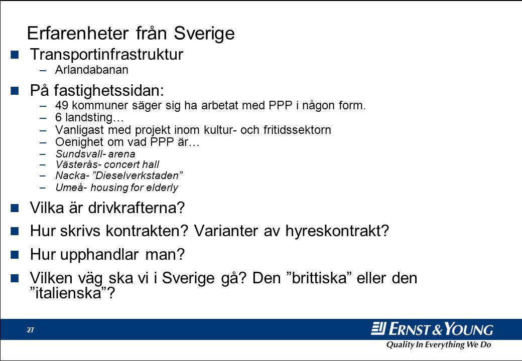 27 Erfarenheter från Sverige n Transportinfrastruktur –Arlandabanan n På fastighetssidan: –49 kommuner säger sig ha arbetat med PPP i någon form.