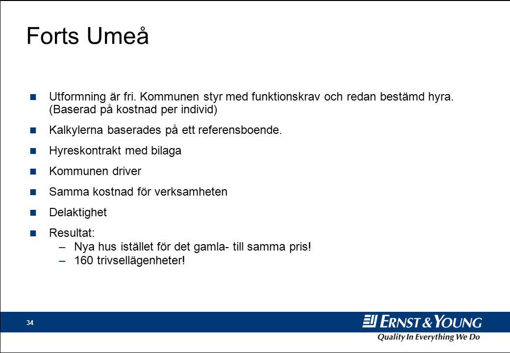 34 Forts Umeå n Utformning är fri.Kommunen styr med funktionskrav och redan bestämd hyra.